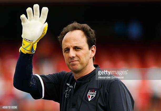 Rogeiro Ceni of Sao Paulo stands on the field during the match between Sao Paulo and Figueirense for the Brazilian Series A 2014 at Morumbi stadium...