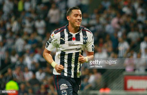Rogelio Funes Mori celebrates during the 11th round match match between Monterrey and Atlas as part of the Torneo Clausura 2017 Liga MX at BBVA...