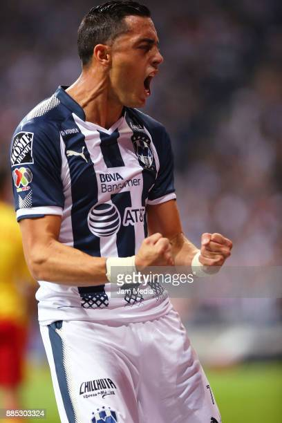 Rogelio Funes Mori of Monterrey celebrates after scoring during the semifinal second leg match between Monterrey and Morelia as part of the Torneo...