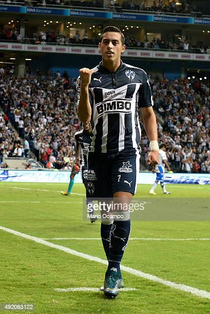 Rogelio Funes Mori of Monterrey celebrates after scoring his team's first goal during the 2nd round match between Monterrey and Puebla as part of the...