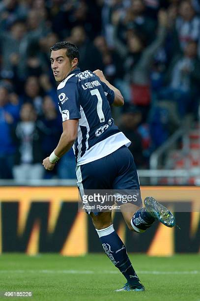 Rogelio Funes Mori of Monterrey celebrates after scoring his team's firts goal during the 16th round match between Monterrey and America as part of...