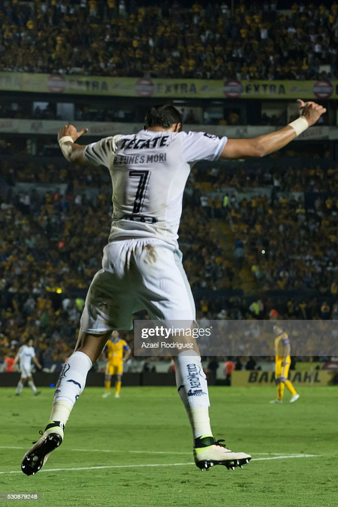 <a gi-track='captionPersonalityLinkClicked' href=/galleries/search?phrase=Rogelio+Funes+Mori&family=editorial&specificpeople=6717732 ng-click='$event.stopPropagation()'>Rogelio Funes Mori</a> of Monterrey celebrates after scoring his team's third goal during the quarter finals first leg match between Tigres UANL and Monterrey as part of the Clausura 2016 Liga MX at Universitario Stadium on May 11, 2016 in Monterrey, Mexico.