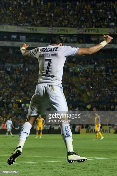 Rogelio Funes Mori of Monterrey celebrates after scoring his team's third goal during the quarter finals first leg match between Tigres UANL and...