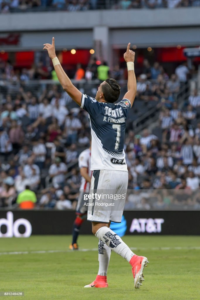 Rogelio Funes Mori of Monterrey celebrates after scoring his team's second goal during the 4th round match between Monterrey and Chivas as part of the Torneo Apertura 2017 Liga MX at BBVA Bancomer Stadium on August 12, 2017 in Monterrey, Mexico.