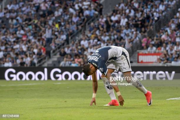 Rogelio Funes Mori of Monterrey celebrates after scoring his team's second goal during the 4th round match between Monterrey and Chivas as part of...