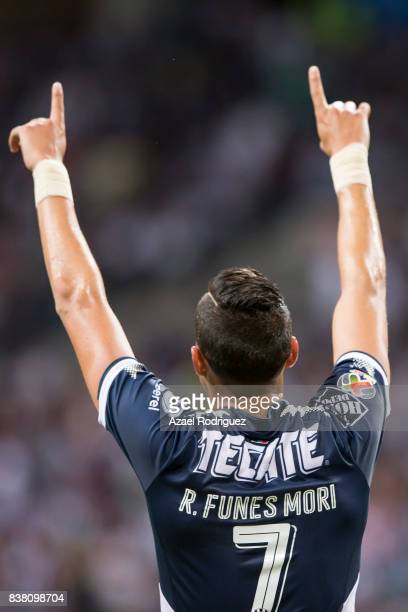 Rogelio Funes Mori of Monterrey celebrates after scoring his team's third goal during the 6th round match between Monterrey and Toluca as part of the...