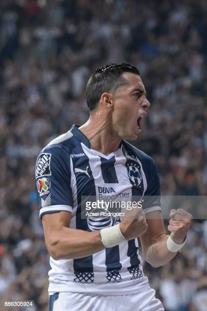 Rogelio Funes Mori of Monterrey celebrates after scoring his team´s first goal during the semifinal second leg match between Monterrey and Morelia as...