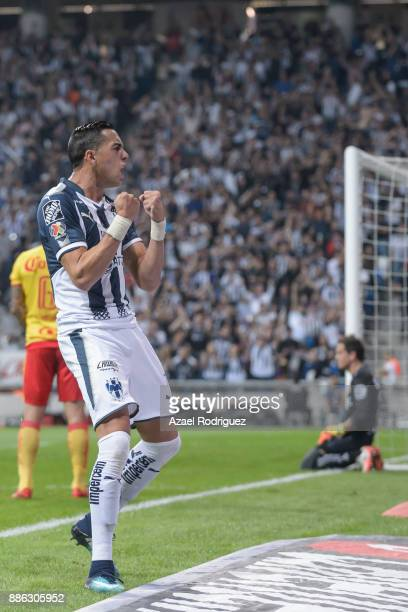Rogelio Funes Mori of Monterrey celebrates after scoring his team's first goal during the semifinal second leg match between Monterrey and Morelia as...