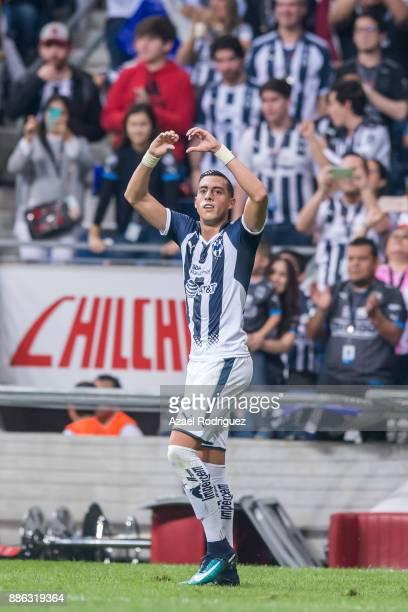 Rogelio Funes Mori of Monterrey celebrates after scoring his team's third goal during the semifinal second leg match between Monterrey and Morelia as...