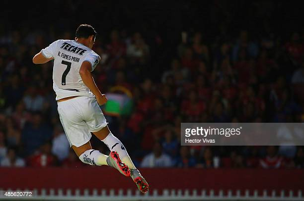 Rogelio Funes Mori of Monterrey celebrates after scoring the first goal of his team during a 7th round match between Veracruz and Monterrey as part...