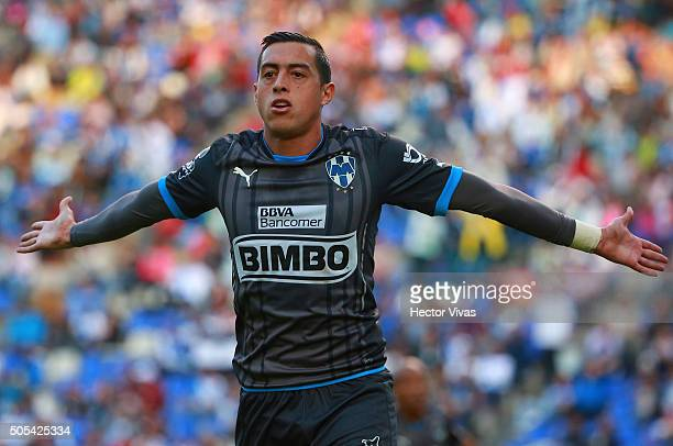 Rogelio Funes Mori of Monterrey celebrates after scoring the first goal of his team during the 2nd round match between Puebla and Monterrey as part...
