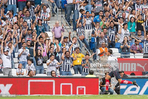 Rogelio Funes Mori of Monterrey celebrates with fans after scoring his team's first goal during the 3rd round match between Monterrey and Cruz Azul...