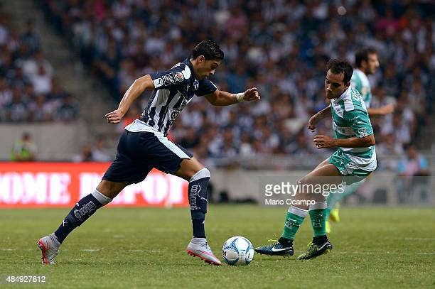 Rogelio Funes Mori of Monterrey drives the ball during a 6th round match between Monterrey and Santos Laguna as part of the Apertura 2015 Liga MX at...