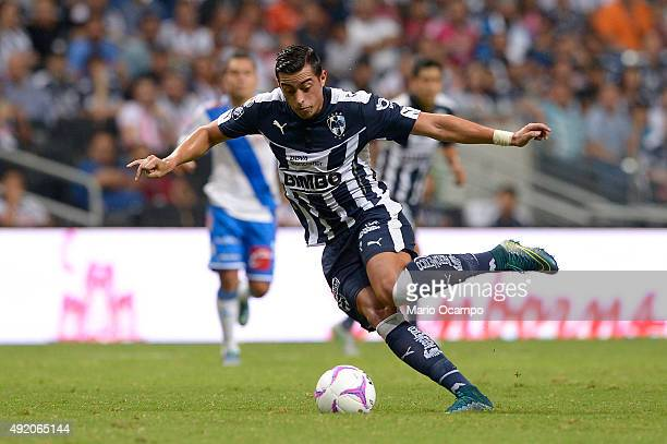 Rogelio Funes Mori of Monterrey drives the ball during the 2nd round match between Monterrey and Puebla as part of the Apertura 2015 Liga MX at BBVA...