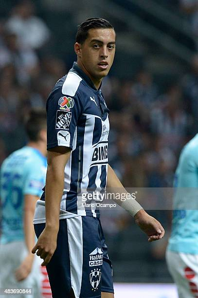 Rogelio Funes Mori of Monterrey looks on during a 4th round match between Monterrey and Pachuca as part of the Apertura 2015 Liga MX at BBVA Bancomer...