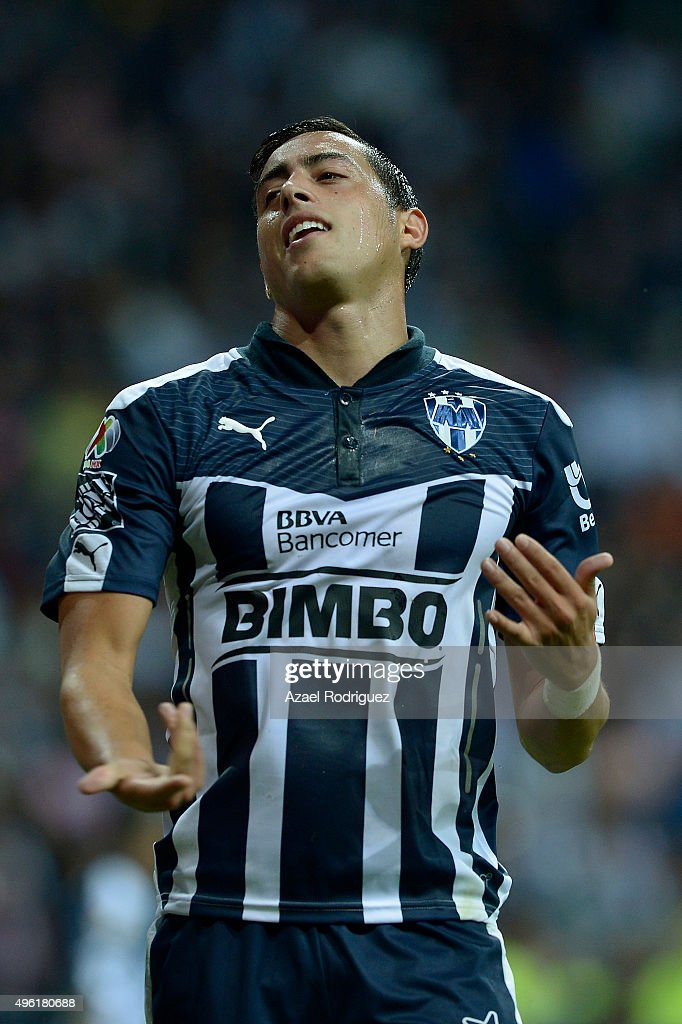 <a gi-track='captionPersonalityLinkClicked' href=/galleries/search?phrase=Rogelio+Funes+Mori&family=editorial&specificpeople=6717732 ng-click='$event.stopPropagation()'>Rogelio Funes Mori</a> of Monterrey reacts during the 16th round match between Monterrey and America as part of the Apertura 2015 Liga MX at BBVA Bancomer Stadium on November 07, 2015 in Monterrey, Mexico.