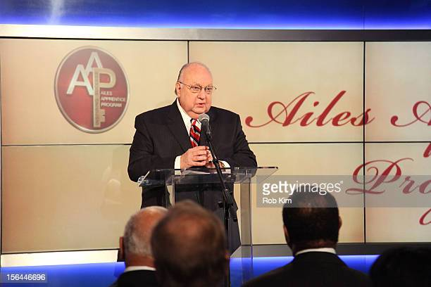 Roger Ailes Chairman CEO FOX News FOX Business attends the 2012 Ailes Apprentice Class graduation ceremony at FOX Studios on November 15 2012 in New...
