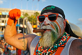 Roger Avila a Miami Hurricanes fan in costume in the tailgate area prior to the game against the Florida State Seminoles on November 15 2014 at Sun...