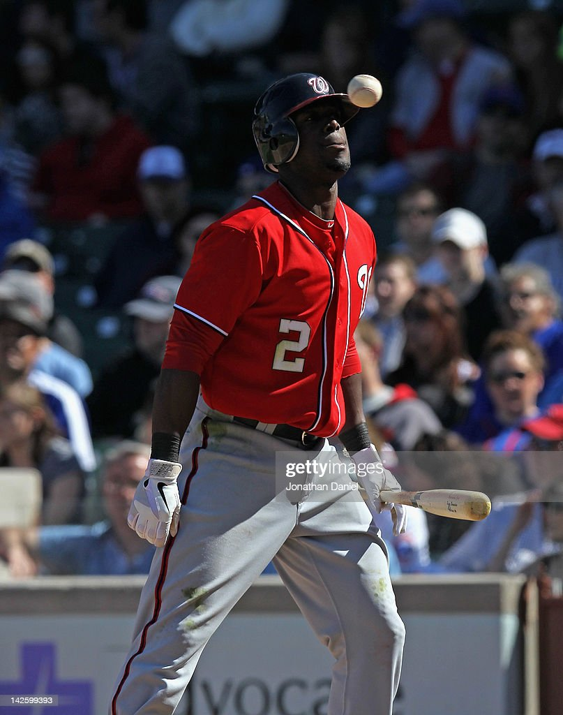 Roger Bernadina #2 of the Washington Nationals looks up at the ball after taking a strike against the Chicago Cubs at Wrigley Field on April 8, 2012 in Chicago, Illinois. The Cubs defeated the Nationals 4-3.
