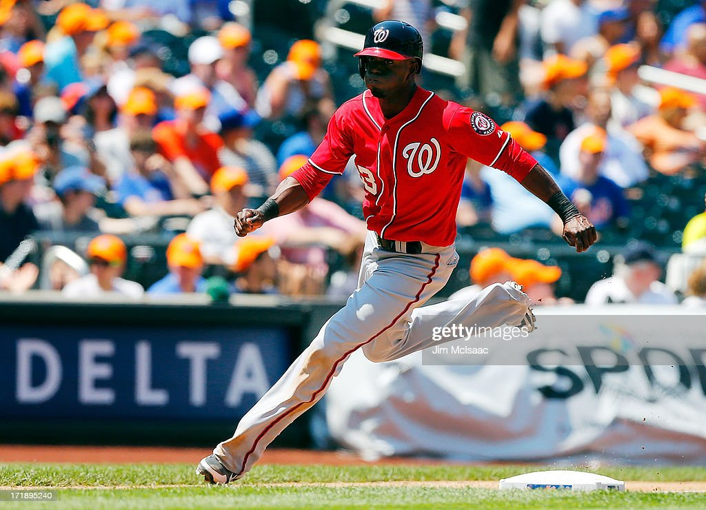 <a gi-track='captionPersonalityLinkClicked' href=/galleries/search?phrase=Roger+Bernadina&family=editorial&specificpeople=4246414 ng-click='$event.stopPropagation()'>Roger Bernadina</a> #33 of the Washington Nationals rounds third base to score a fourth inning run against the New York Mets at Citi Field on June 29, 2013 in the Flushing neighborhood of the Queens borough of New York City.