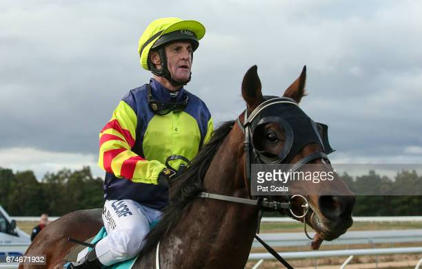 Roger Booth returns to the mounting yard on Fold after winning Millear Family 0 58 Handicap at Ararat Racecourse on April 29 2017 in Ararat Australia