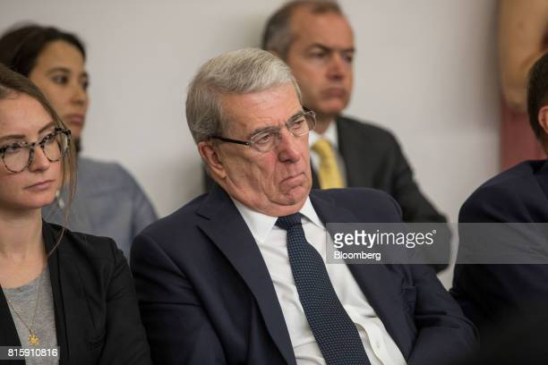 Roger Carr chairman of BAE Systems Plc listens to speech by Anwar Gargash United Arab Emirates' foreign minister at Chatham House in London UK on...