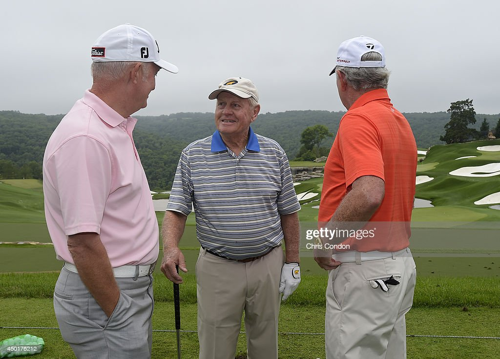 Roger Chapman, Jack Nicklaus and Hale Irwin share a laugh on the range prior to the first round of the Big Cedar Lodge Legends of Golf presented by Bass Pro Shops at Top of the Rock on June 6, 2014 in Ridgedale, Missouri.