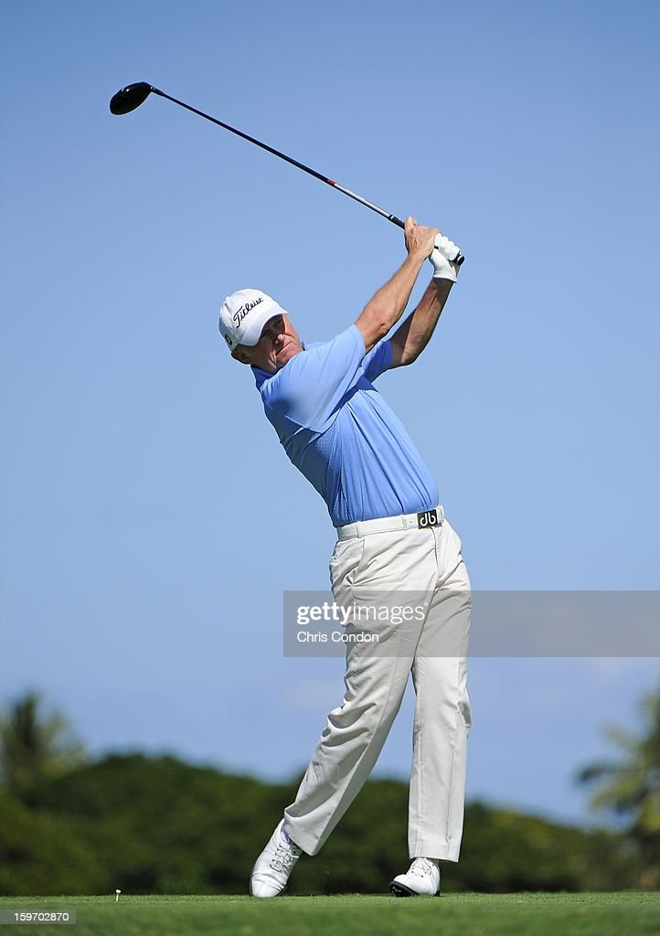 KA'UPULEHU-KONA, HI - JANUARY 18: Roger Chapman of England plays from the second tee during the first round of the Mitsubishi Electric Championship at Hualalai Golf Club on January 18, 2013 in Ka'upulehu-Kona, Hawaii.