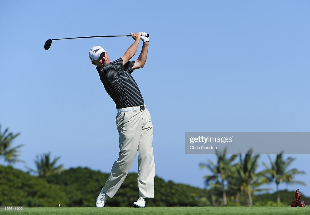 <a gi-track='captionPersonalityLinkClicked' href=/galleries/search?phrase=Roger+Chapman&family=editorial&specificpeople=569611 ng-click='$event.stopPropagation()'>Roger Chapman</a> of England plays from the second tee during the second round of the Mitsubishi Electric Championship at Hualalai Golf Club on January 19, 2013 in Ka'upulehu-Kona, Hawaii.