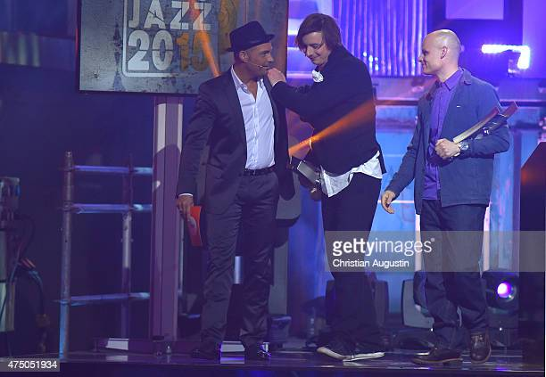 Roger Cicero Michael Wollny and Eric Schaefer attend the Echo Jazz 2015 at the dockyard of BlohmVoss on May 28 2015 in Hamburg Germany