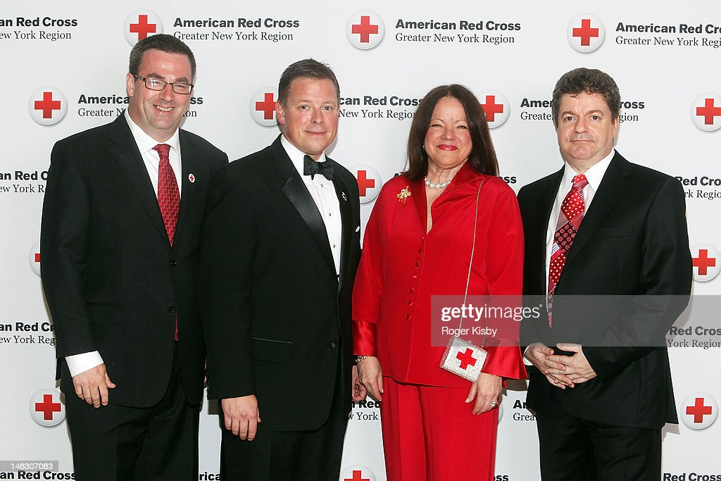 Roger Clark, honorees JetBlue Airways COO Rob Muruster, member of the National American Red Cross Board of Governors Ann Kaplan and Managing Director of Albourne Partners Simon Ruddick attend the 2012 New York Red Cross Ball at The Plaza Hotel on June 13, 2012 in New York City.