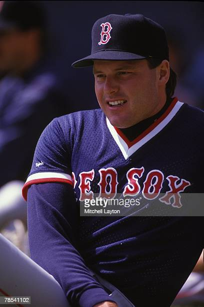 Roger Clemens of the Boston Red Sox looks on in warmups during the game against the Baltimore Orioles in May 1992 at Memorial Stadium in Baltimore...