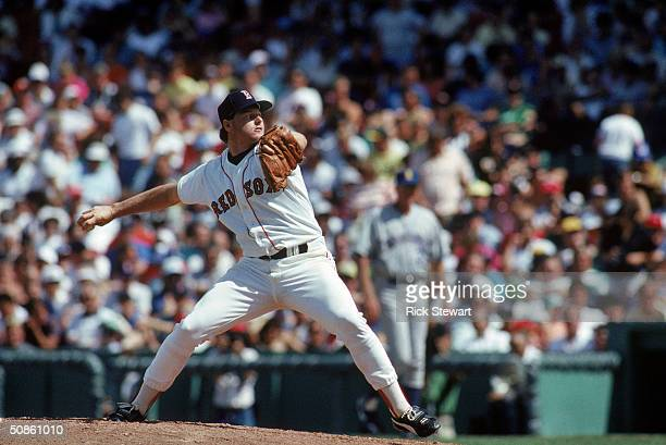 Roger Clemens of the Boston Red Sox pitches against the Seattle Mariners during a game in the 1987 MLB Season at Fenway Park in Boston Massachusetts