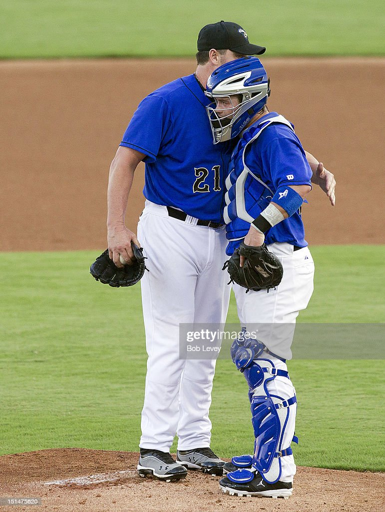 <a gi-track='captionPersonalityLinkClicked' href=/galleries/search?phrase=Roger+Clemens&family=editorial&specificpeople=171089 ng-click='$event.stopPropagation()'>Roger Clemens</a> #21 of the Sugar Land Skeeters hugs his son Koby Clemens #22 before playing the Long Island Ducks on September 7, 2012 in Sugar Land, Texas.