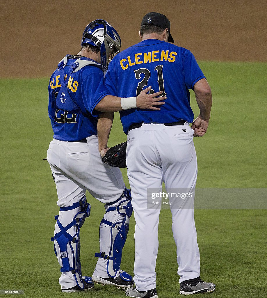 <a gi-track='captionPersonalityLinkClicked' href=/galleries/search?phrase=Roger+Clemens&family=editorial&specificpeople=171089 ng-click='$event.stopPropagation()'>Roger Clemens</a> #21 of the Sugar Land Skeeters talks with his catcher, son Koby Clemens #22 in the third inning against the Long Island Ducks on September 7, 2012 in Sugar Land, Texas.