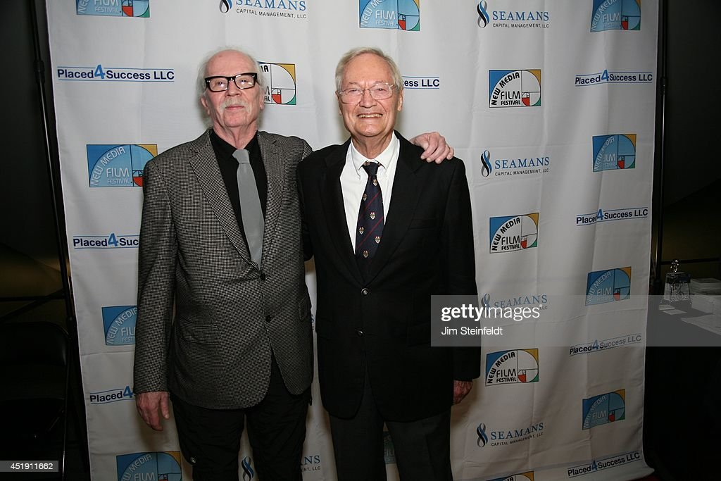 <a gi-track='captionPersonalityLinkClicked' href=/galleries/search?phrase=Roger+Corman&family=editorial&specificpeople=613532 ng-click='$event.stopPropagation()'>Roger Corman</a>, film producer, director, and actor poses with director <a gi-track='captionPersonalityLinkClicked' href=/galleries/search?phrase=John+Carpenter&family=editorial&specificpeople=1243793 ng-click='$event.stopPropagation()'>John Carpenter</a> at the New Media Film Festival at the Landmark Theatre in Los Angeles, California on June 11, 2014.