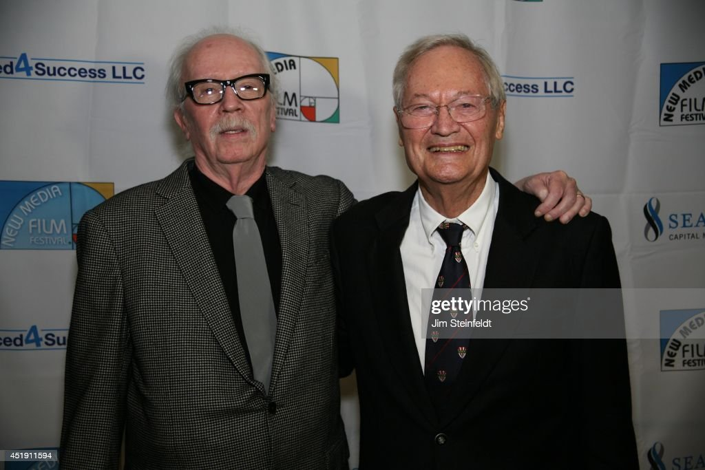 <a gi-track='captionPersonalityLinkClicked' href=/galleries/search?phrase=Roger+Corman&family=editorial&specificpeople=613532 ng-click='$event.stopPropagation()'>Roger Corman</a>, film producer, director, and actor with director <a gi-track='captionPersonalityLinkClicked' href=/galleries/search?phrase=John+Carpenter&family=editorial&specificpeople=1243793 ng-click='$event.stopPropagation()'>John Carpenter</a> at the New Media Film Festival at the Landmark Theatre in Los Angeles, California on June 11, 2014.