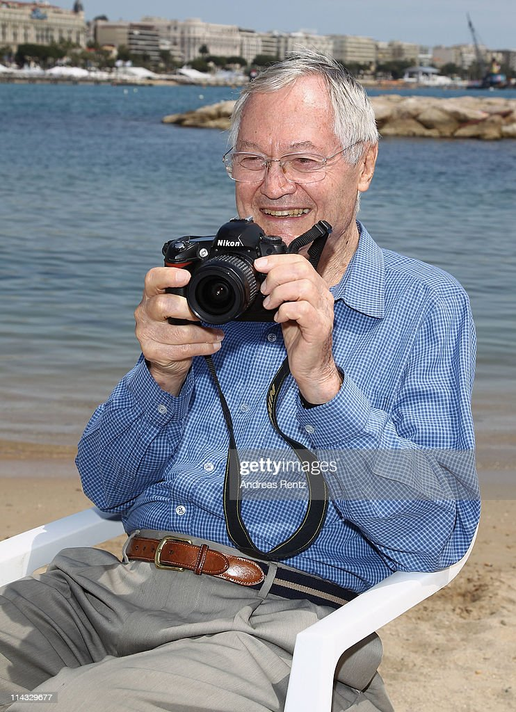 Roger Corman is seen sitting on the beach during the 64th Annual Cannes Film Festival on May 18, 2011 in Cannes, France.