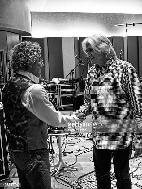 Roger Daltrey and John Corey during rehearsals for The Who's 50th Anniversary Gig for The Teenage Cancer Trust at British Grove Studios on November...