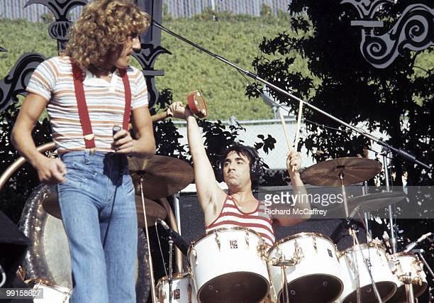 Roger Daltrey and Keith Moon of The Who perform live at The Oakland Coliseum in 1976 in Oakland California
