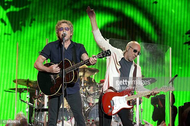 Roger Daltrey and Pete Townshend of English rock band The Who perform on the Pyramid Stage at the Glastonbury Festival of Music and Performing Arts...