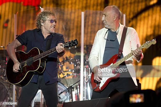 Roger Daltrey and Pete Townshend of the English rock band The Who perform on the Pyramid Stage at the Glastonbury Festival of Music and Performing...