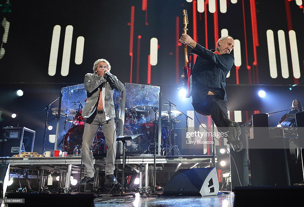 Roger Daltrey (L) and Pete Townshend of The Who perform at '12-12-12' a concert benefiting The Robin Hood Relief Fund to aid the victims of Hurricane Sandy presented by Clear Channel Media & Entertainment, The Madison Square Garden Company and The Weinstein Company at Madison Square Garden on December 12, 2012 in New York City.