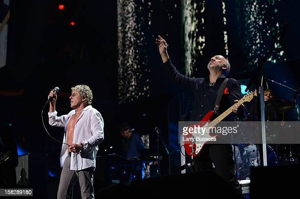 Roger Daltrey and Pete Townshend of The Who perform at '121212' a concert benefiting The Robin Hood Relief Fund to aid the victims of Hurricane Sandy...