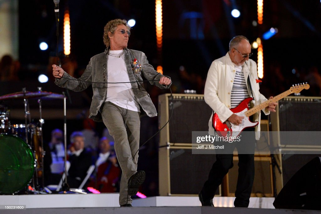 Roger Daltrey (L) and Pete Townshend of The Who perform during the Closing Ceremony on Day 16 of the London 2012 Olympic Games at Olympic Stadium on August 12, 2012 in London, England.