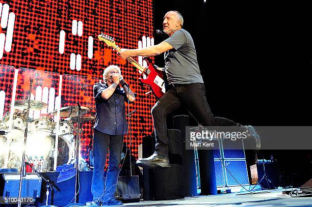 Roger Daltrey and Pete Townshend of The Who perform live at The SSE Arena Wembley on February 13 2016 in London United Kingdom