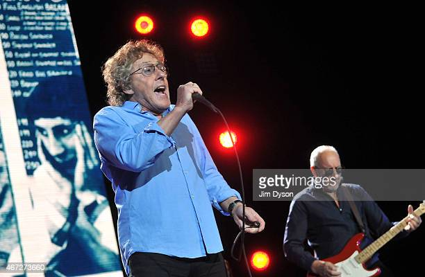 Roger Daltrey and Pete Townshend of The Who perform live on stage during the The Who Hits 50 Tour at The O2 Arena on March 22 2015 in London England