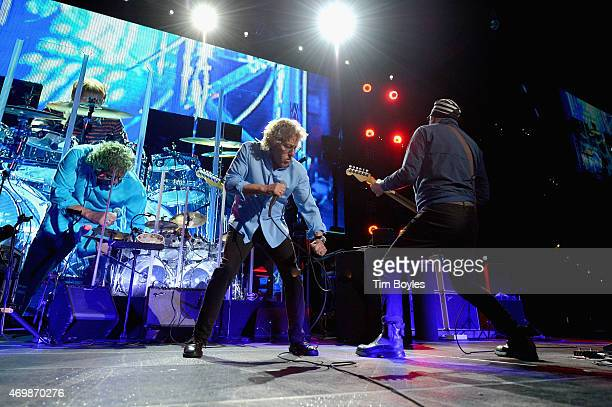 Roger Daltrey and Pete Townshend of the Who perform on the opening night of their 'The Who Hits 50' tour at Amalie Arena on April 15 2015 in Tampa...