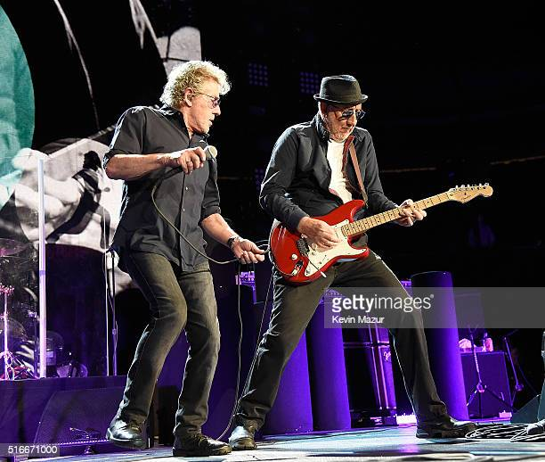 Roger Daltrey and Pete Townshend performs onstage during The Who Hits 50 North American tour at Prudential Center on March 19 2016 in Newark New...