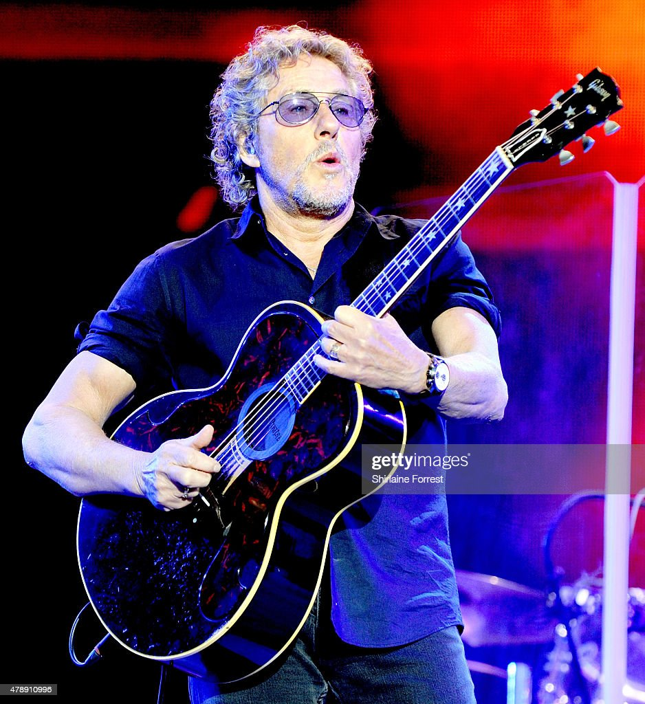 Roger Daltrey of The Who performs headlining The Pyramid Stage at the Glastonbury Festival at Worthy Farm, Pilton on June 28, 2015 in Glastonbury, England.